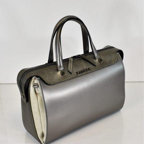 Elegantná biznis kabelka do práce striebristá