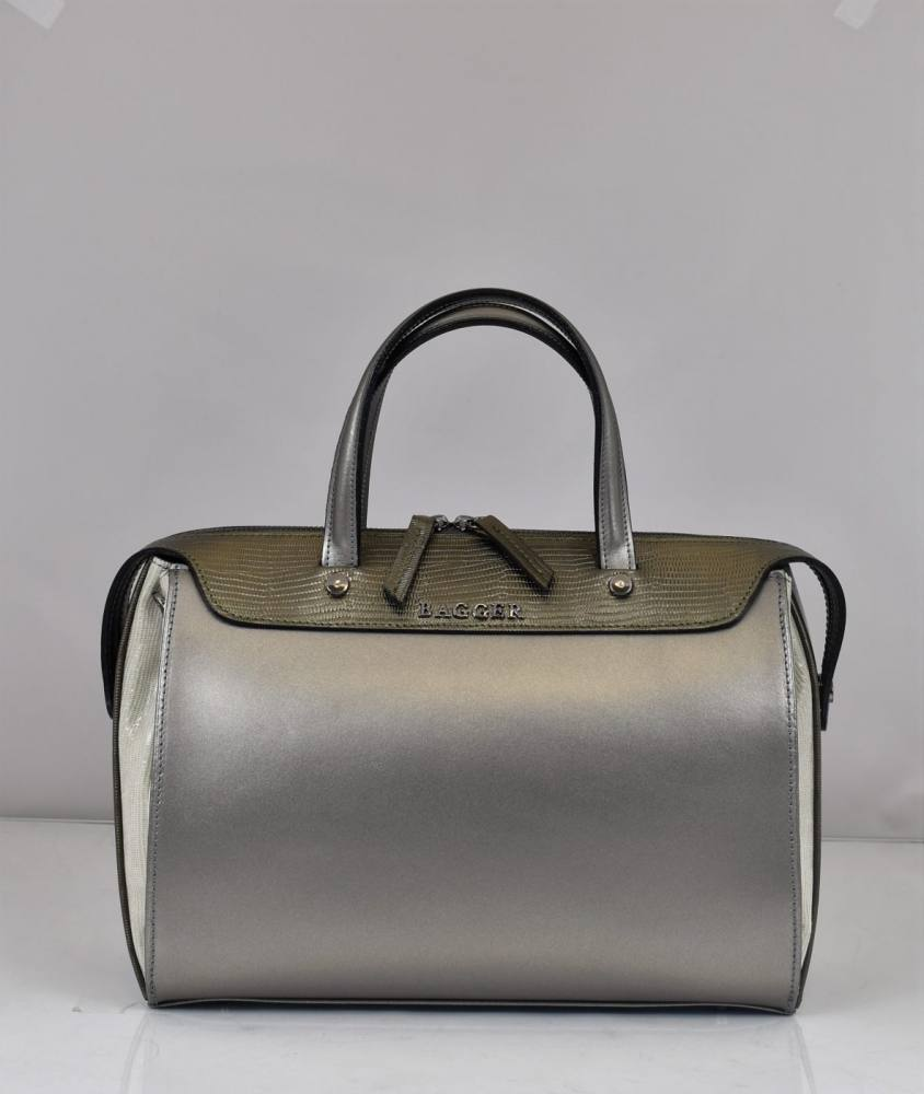 a14bb8520a Dámska kožená kabelka strieborná BAGGER S 0094 - Gabi Bags