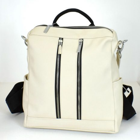 Dámsky ruksak so zipsami biely
