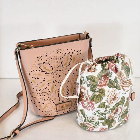 ružová crossbody kabelka dva v jednom verde
