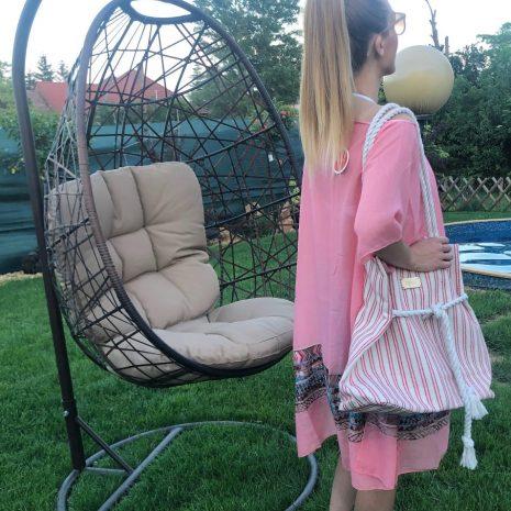 Ružová letná tunika s výšivkou DOCA