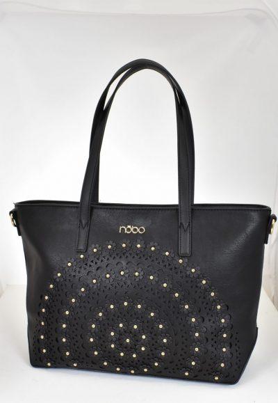 Elegantná dámska kabelka so zdobením, aplikácie zlatých perličiek a kvetiniek