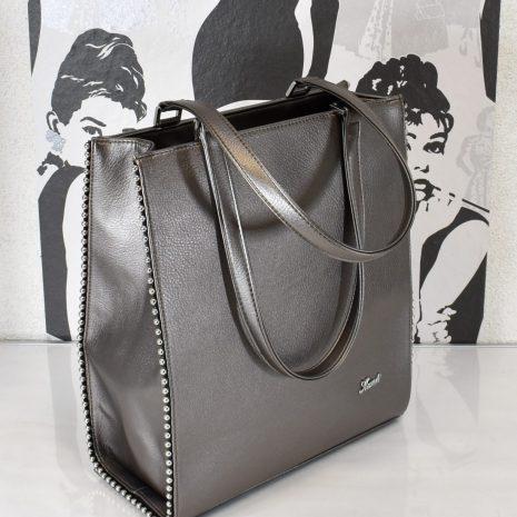 Veľká elegantná dámska kabelka šedá