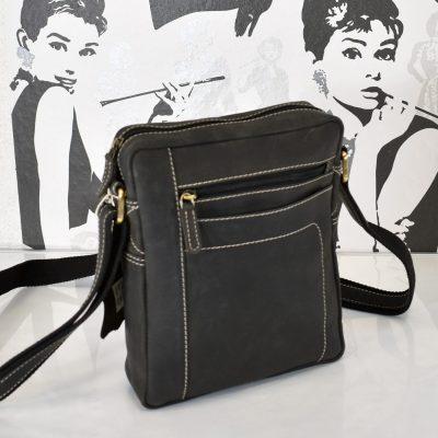 Praktická kožená kabelka pre pánov v čierno šedej farbe