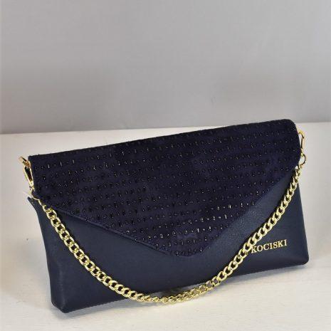 Listová kabelka s kamienkami modrá