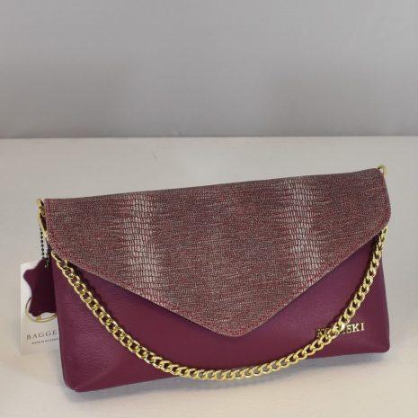 Zdobená listová kožená kabelka fialová