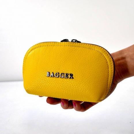 BAGGER kožená kozmetická taštička. Nesesér žltá praktická kozmetická taštička na rôzne využitie do kabelky