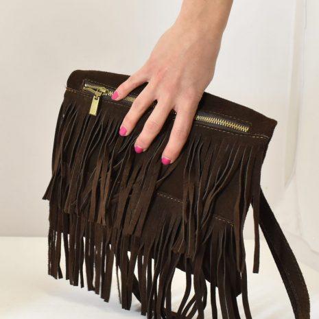 Crossbody strapcová kožená kabelka