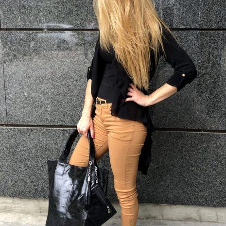 kožené shopper kabelky čierne