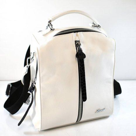 Dámsky biely ruksak a kabelka v jednom