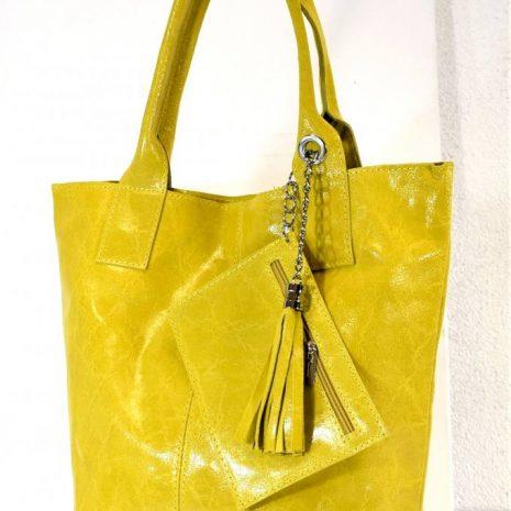 Praktická kožená žltáshopper kabelka ITALY