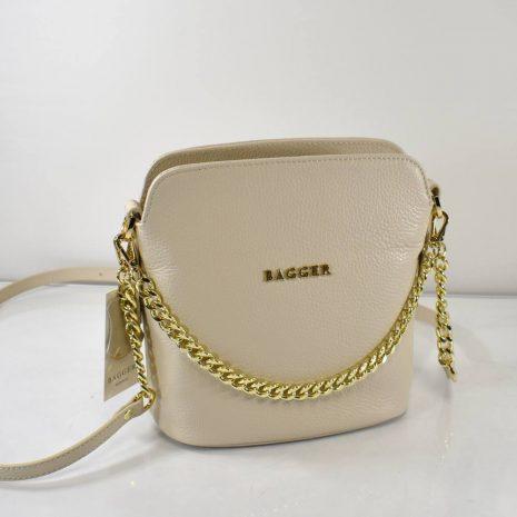 bagger kožené kabelky krížom cez plece krémové