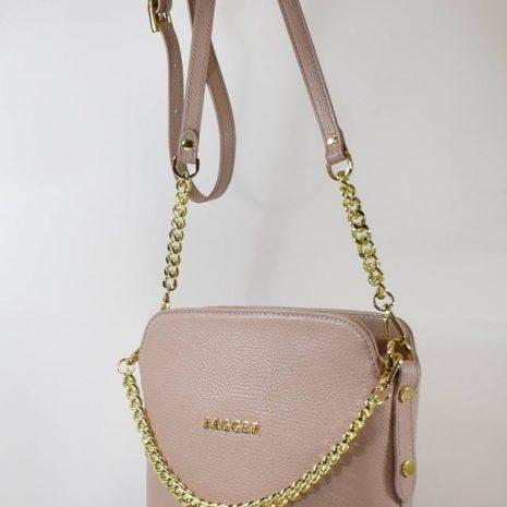 staro ružová kožená bagger kabelka krížom cez plece