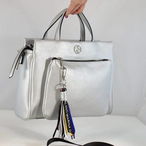 dámske elegantné kabelky do ruky strieborné