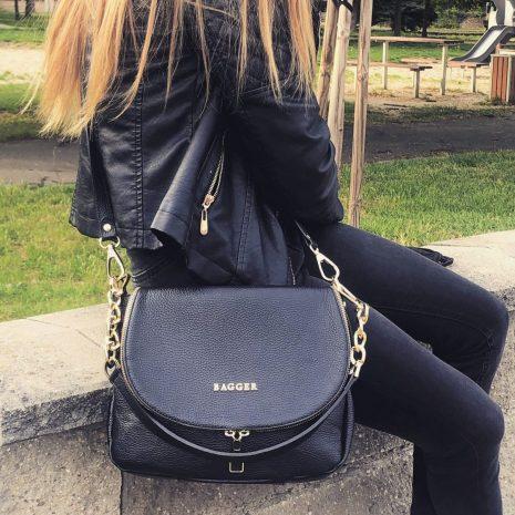 dámske kožené kabelky bagger crossbody čierne