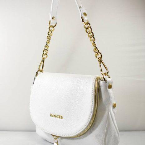 Crossbody biela kožená kabelka BAGGER