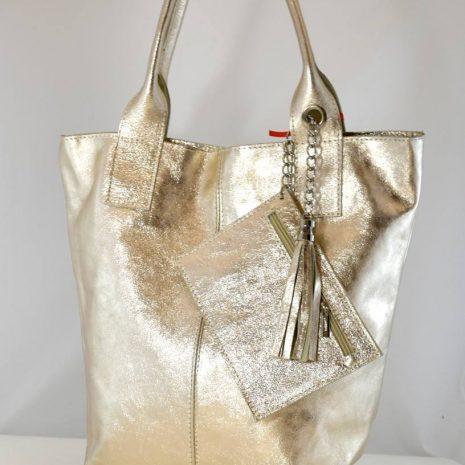 Praktická zlatá shopper kabelka kožená ITALY