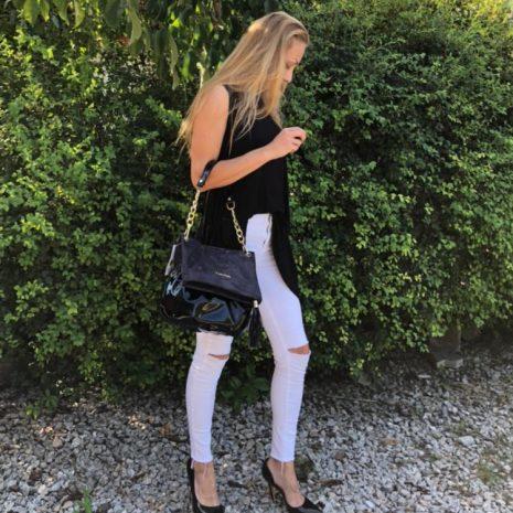 elegantné dámske kabelky kožené lakované do ruky
