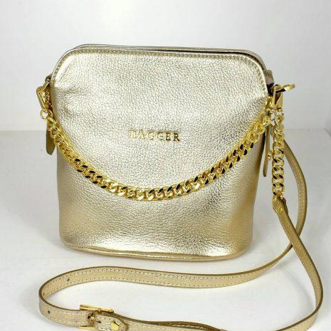 Zlatá crossbody kabelka s retiazkou BAGGER