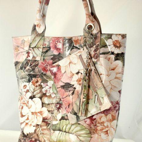 Kvetinová farebná shopper kabelka kožená ITALY