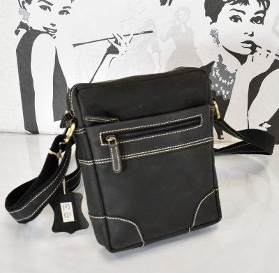 Praktická kožená taška pre pánov v čierno šedej farbe