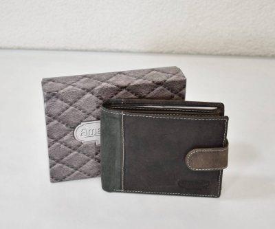 Štýlová šedá peňaženka z brúsenej kože
