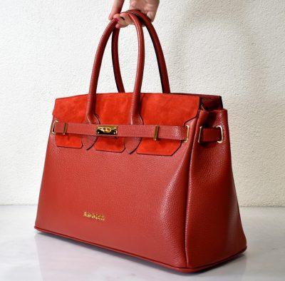 Veľká dámska kabelka v červenej farbe na formát A4