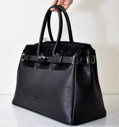 Biznis dámska kabelka v čiernej farbe so zlatým kovaním