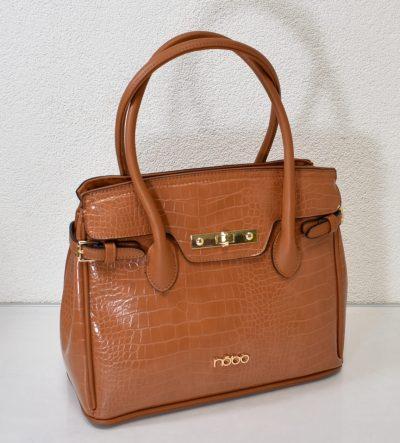 Dámska kabelka v hnedej farbe s krokodýlím vzorom