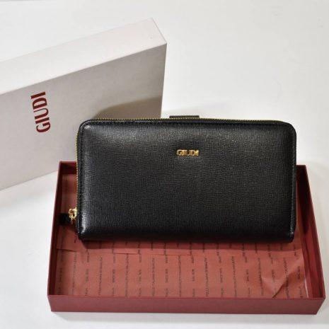 Dámska veľká kožená čierna peňaženka GIUDI