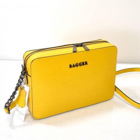Kožená dámska žltáBAGGER crossbody kabelka