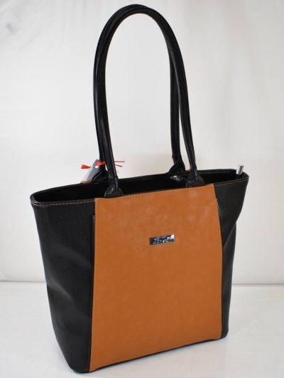 Športovo elegantná kabelka na rameno v čierno hnedej (camel) farbe