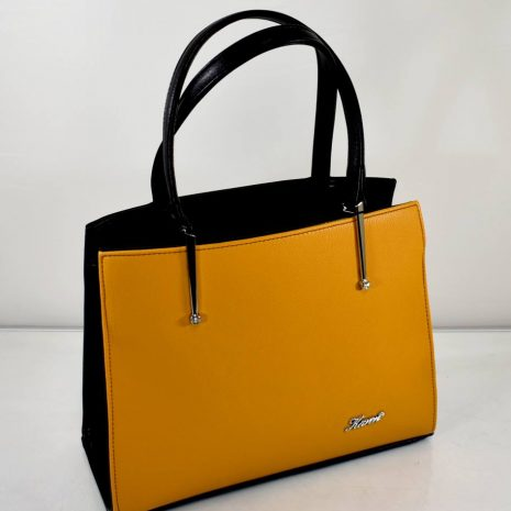 Štýlová, elegantná dámska kabelka v oranžovo čiernej farebnej kombinácii