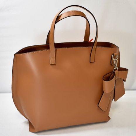 Dámska hnedá kožená kabelka do ruky