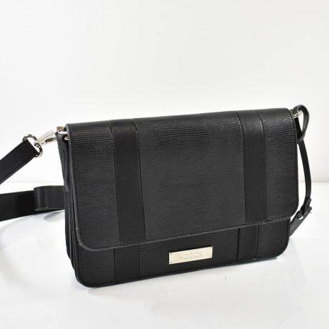 Crossbody čierna listová dámska kabelka
