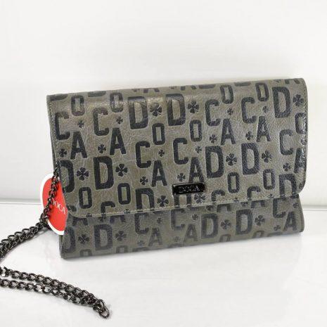 Listová dámska popísaná šedá kabelka DOCA