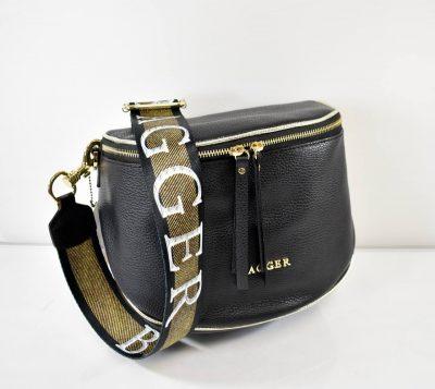Štýlová, športovo elegantná dámska crossbody kabelka v štýle ľadvinky v čiernej farbe so zlatými detailmi