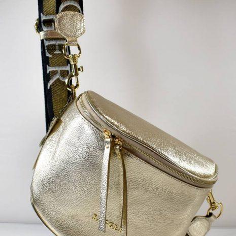 Veľká kožená zlatá dámska ľadvinka BAGGER 0109