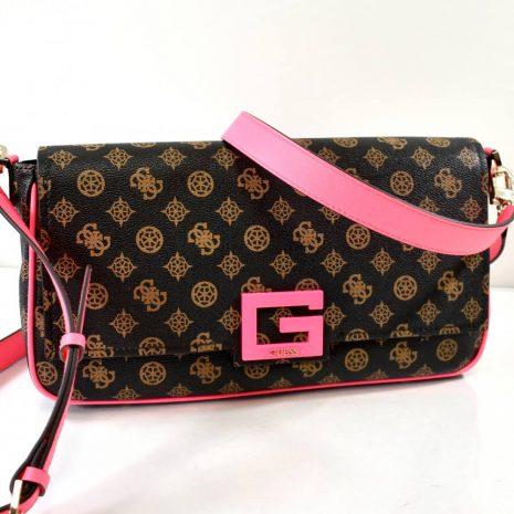 Crossbody čierna kabelka GUESS s neónovým zdobením