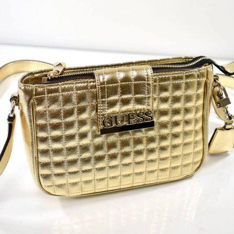 Extravagantná zlatá GUESS dámska crossbody kabelka 8229