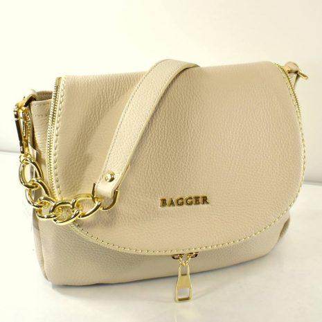Crossbody kožená dámska kabelka krémová BAGGER