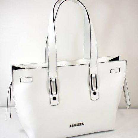 Väčšia, elegantná dámska kabelka v jasnej bielej farbe s hladkým, matným povrchom