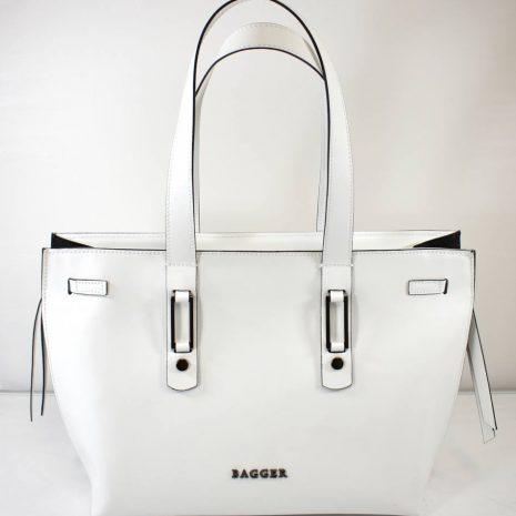 kožené dámske kabelky bagger na rameno biela farba