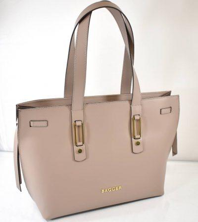 Väčšia, elegantná dámska kabelka na rameno v béžovo fialkovej farbe