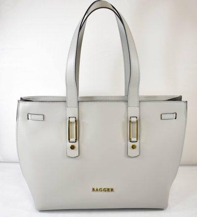 Väčšia, elegantná dámska kabelka na rameno v šedo sivej farbe vhodná do práce
