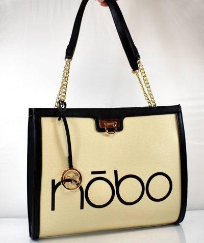 Veľká dámska taška/kabelka v krémovo čiernej farbe s retiazkovými ušami a množstvom úložného priestoru