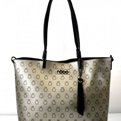Dámska strieborná kabelka a kozmetická taška NOBO N053