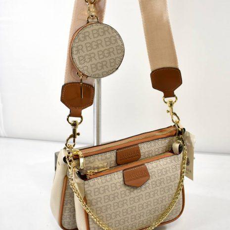 Crossbody kožená krémová kabelka 3v1 BAGGER