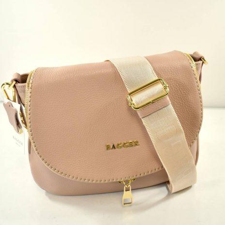Crossbody pudrová kožená kabelka BAGGER