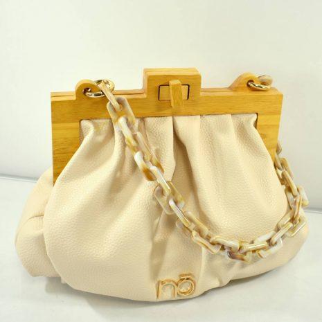 Elegantná crossbody dámska krémová kabelka NOBO